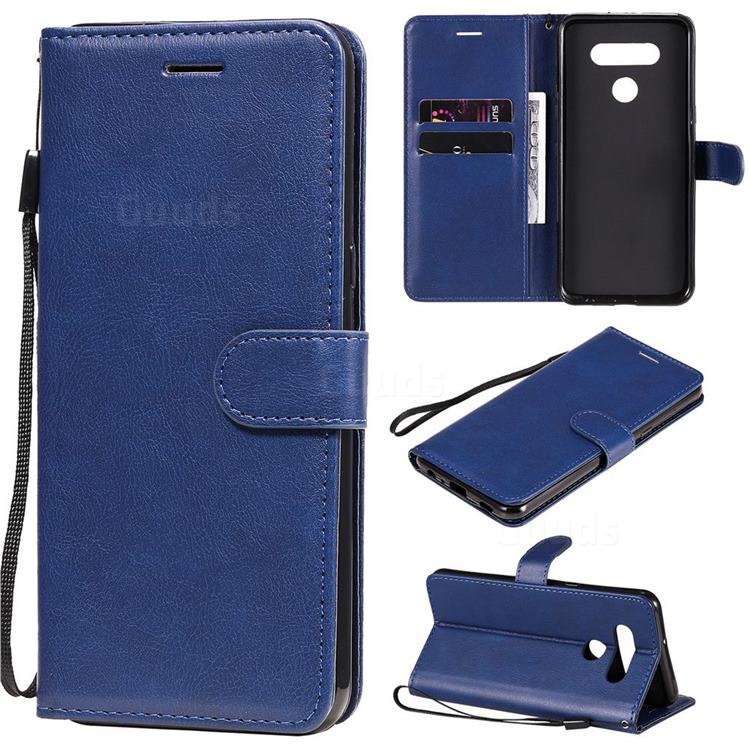 Retro Greek Classic Smooth PU Leather Wallet Phone Case for LG K51 - Blue