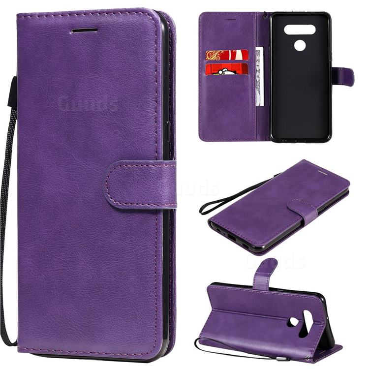 Retro Greek Classic Smooth PU Leather Wallet Phone Case for LG K51 - Purple
