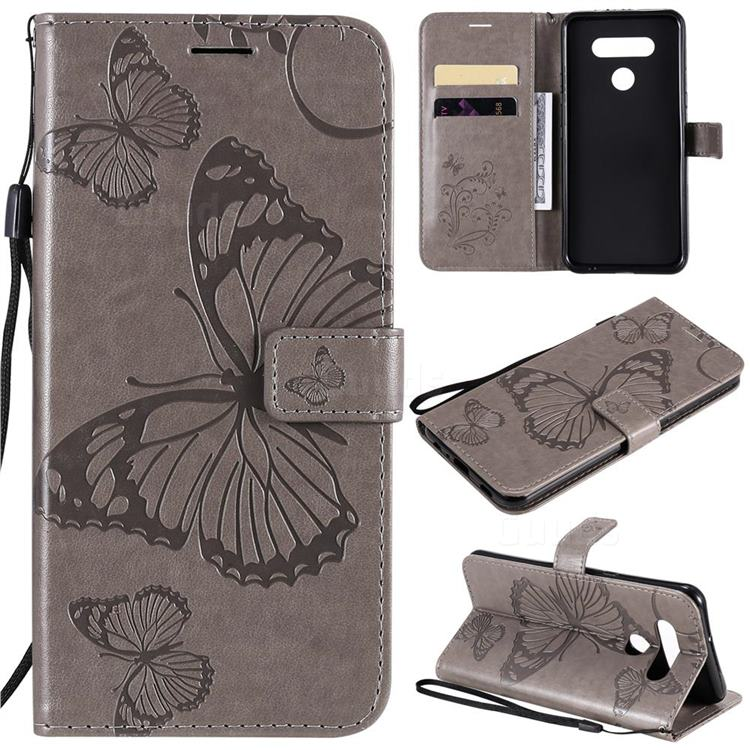 Embossing 3D Butterfly Leather Wallet Case for LG K51 - Gray