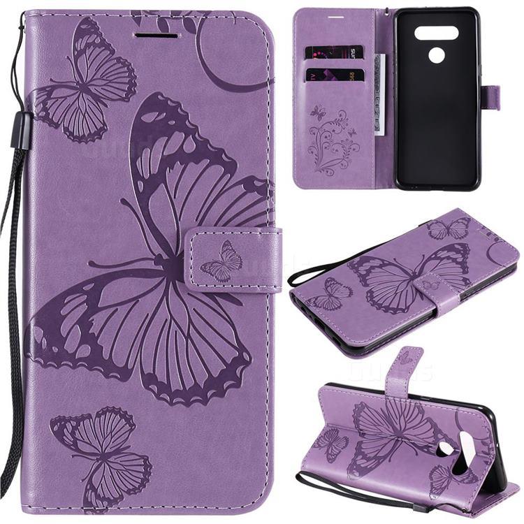 Embossing 3D Butterfly Leather Wallet Case for LG K51 - Purple