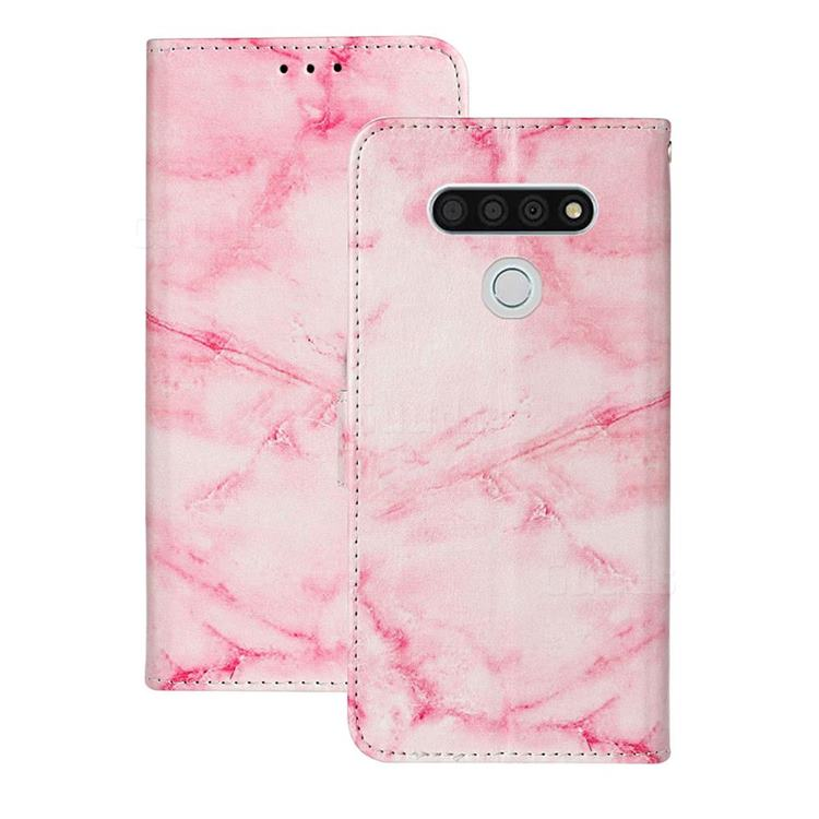 Pink Marble PU Leather Wallet Case for LG K51