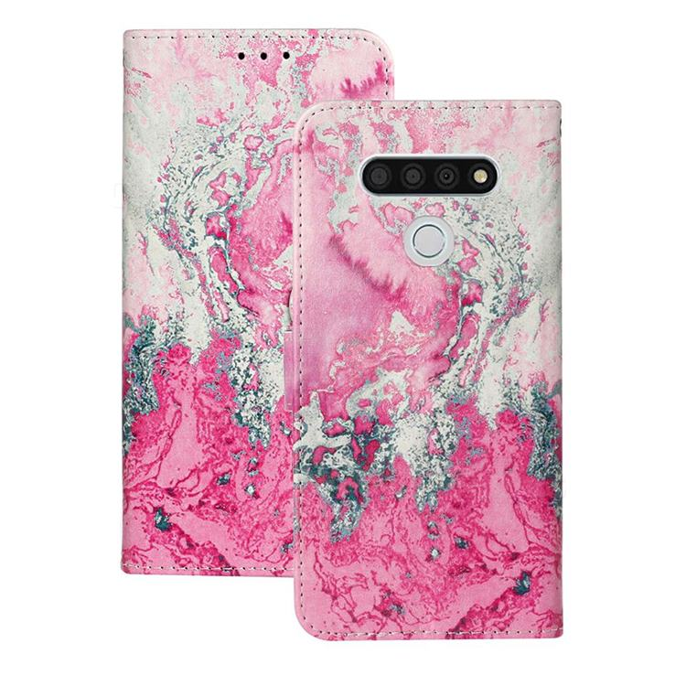 Pink Seawater PU Leather Wallet Case for LG K51