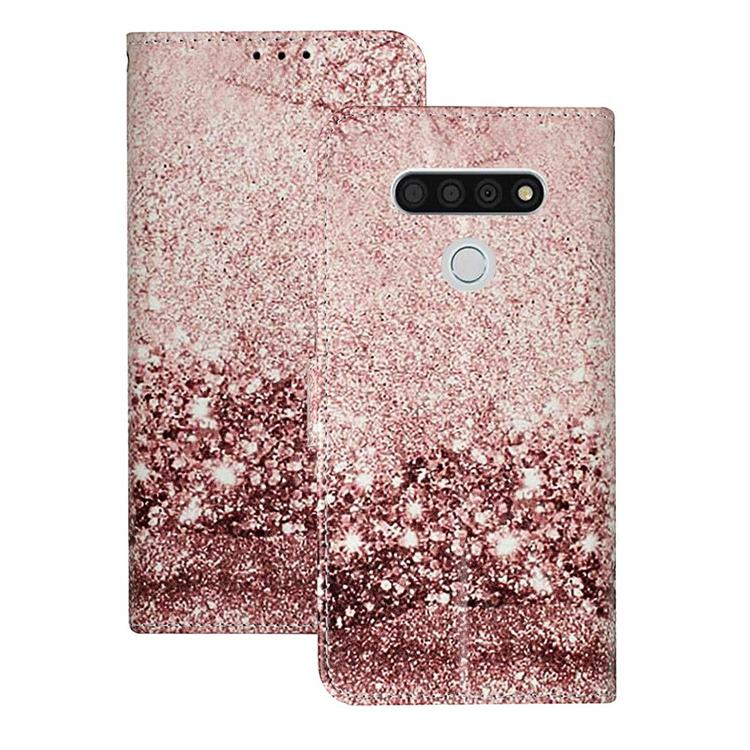 Glittering Rose Gold PU Leather Wallet Case for LG K51