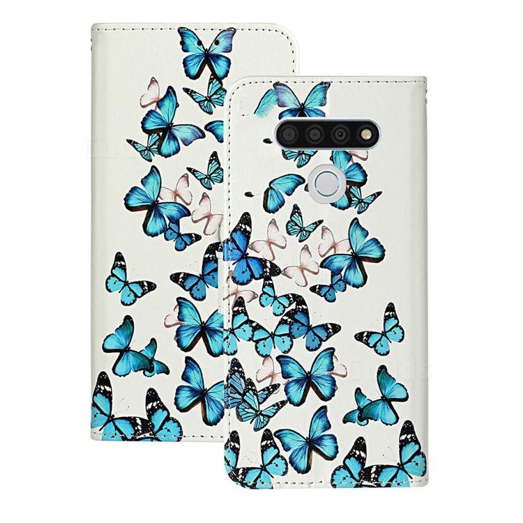 Blue Vivid Butterflies PU Leather Wallet Case for LG K51