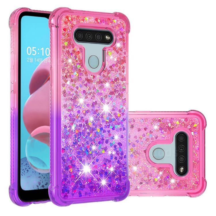 Rainbow Gradient Liquid Glitter Quicksand Sequins Phone Case for LG K51 - Pink Purple
