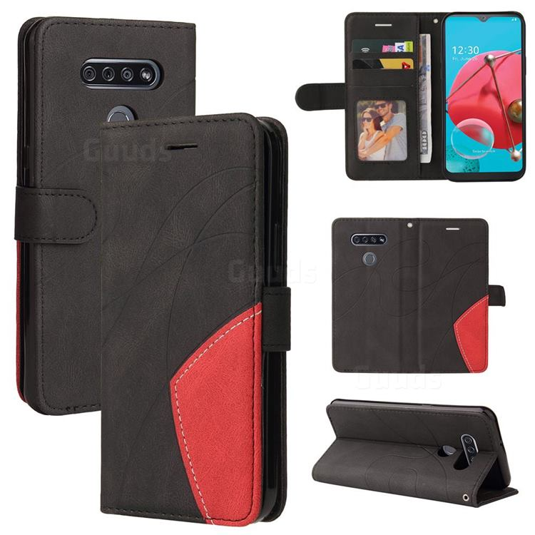 Luxury Two-color Stitching Leather Wallet Case Cover for LG K51 - Black