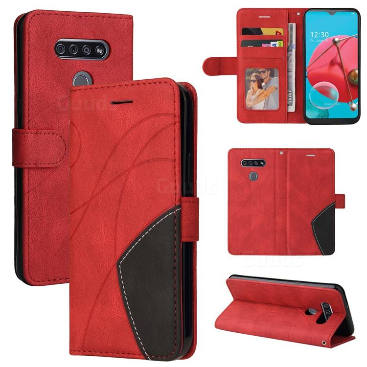 Luxury Two-color Stitching Leather Wallet Case Cover for LG K51 - Red