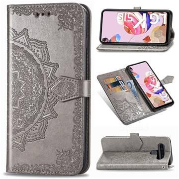 Embossing Imprint Mandala Flower Leather Wallet Case for LG K51S - Gray