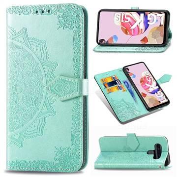 Embossing Imprint Mandala Flower Leather Wallet Case for LG K51S - Green