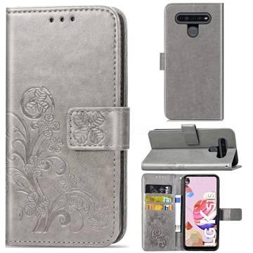 Embossing Imprint Four-Leaf Clover Leather Wallet Case for LG K51S - Grey