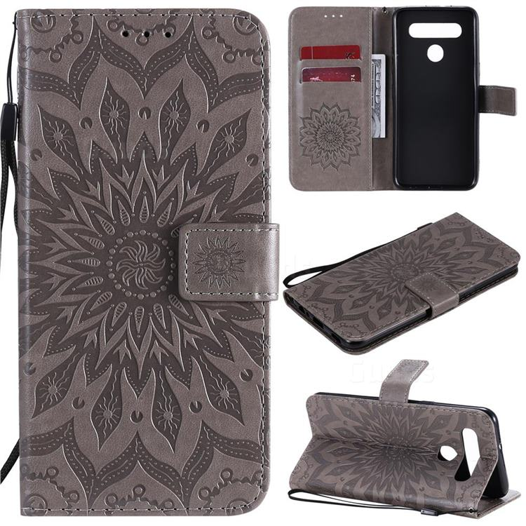 Embossing Sunflower Leather Wallet Case for LG K51S - Gray