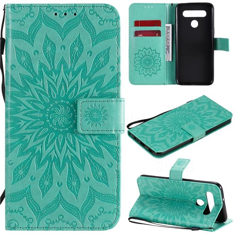 Embossing Sunflower Leather Wallet Case for LG K51S - Green