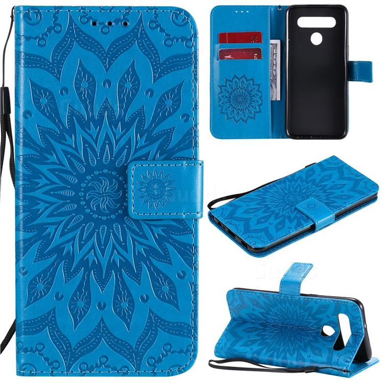 Embossing Sunflower Leather Wallet Case for LG K51S - Blue