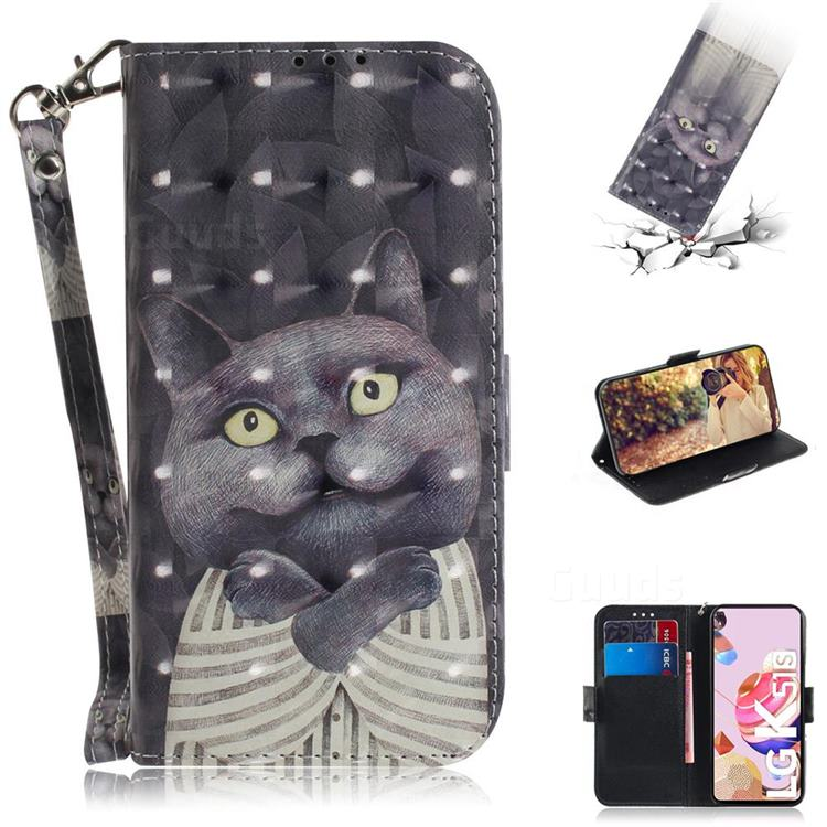 Cat Embrace 3D Painted Leather Wallet Phone Case for LG K51S