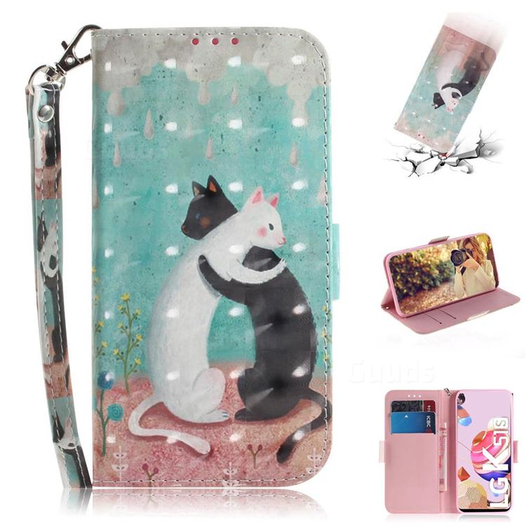 Black and White Cat 3D Painted Leather Wallet Phone Case for LG K51S