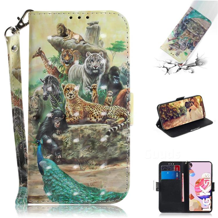 Beast Zoo 3D Painted Leather Wallet Phone Case for LG K51S