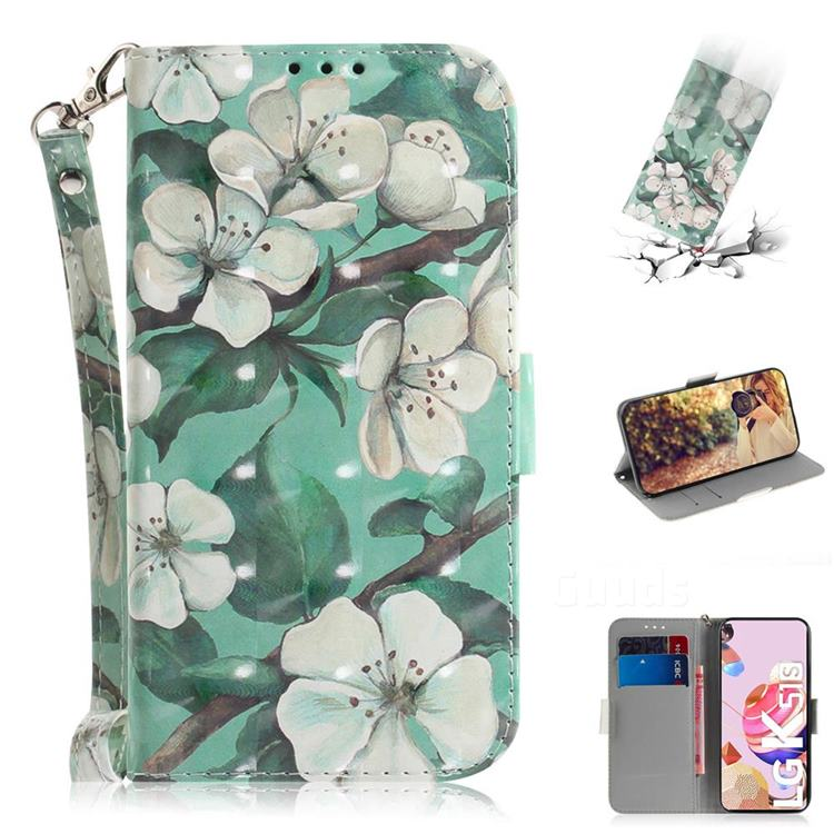 Watercolor Flower 3D Painted Leather Wallet Phone Case for LG K51S
