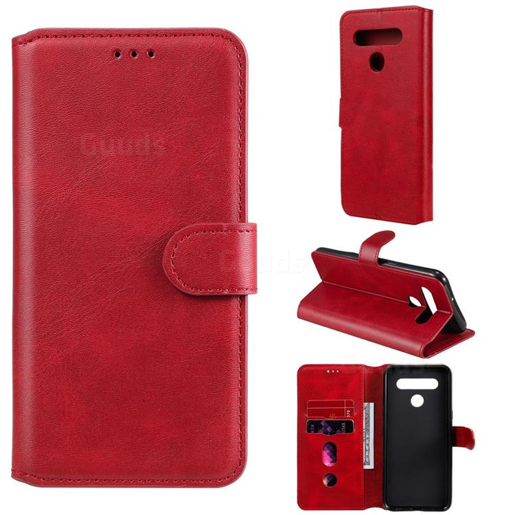 Retro Calf Matte Leather Wallet Phone Case for LG K51S - Red