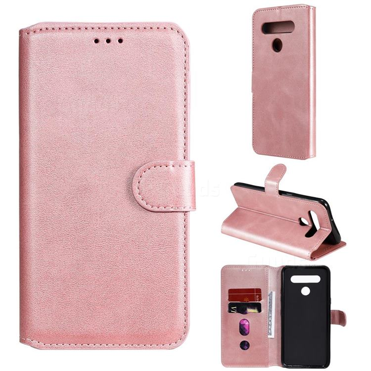 Retro Calf Matte Leather Wallet Phone Case for LG K51S - Pink