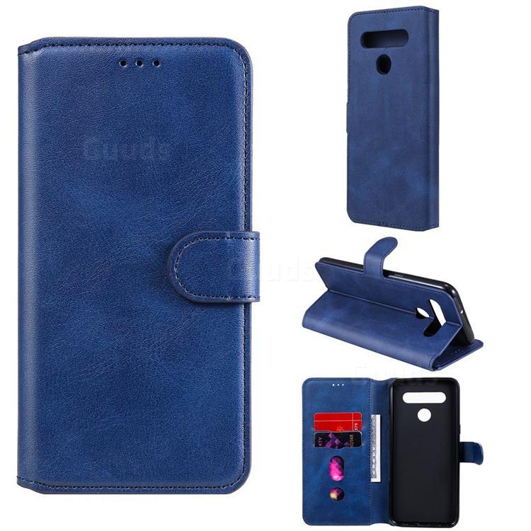 Retro Calf Matte Leather Wallet Phone Case for LG K51S - Blue
