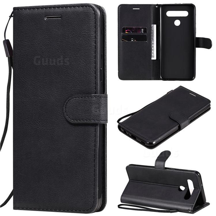 Retro Greek Classic Smooth PU Leather Wallet Phone Case for LG K51S - Black