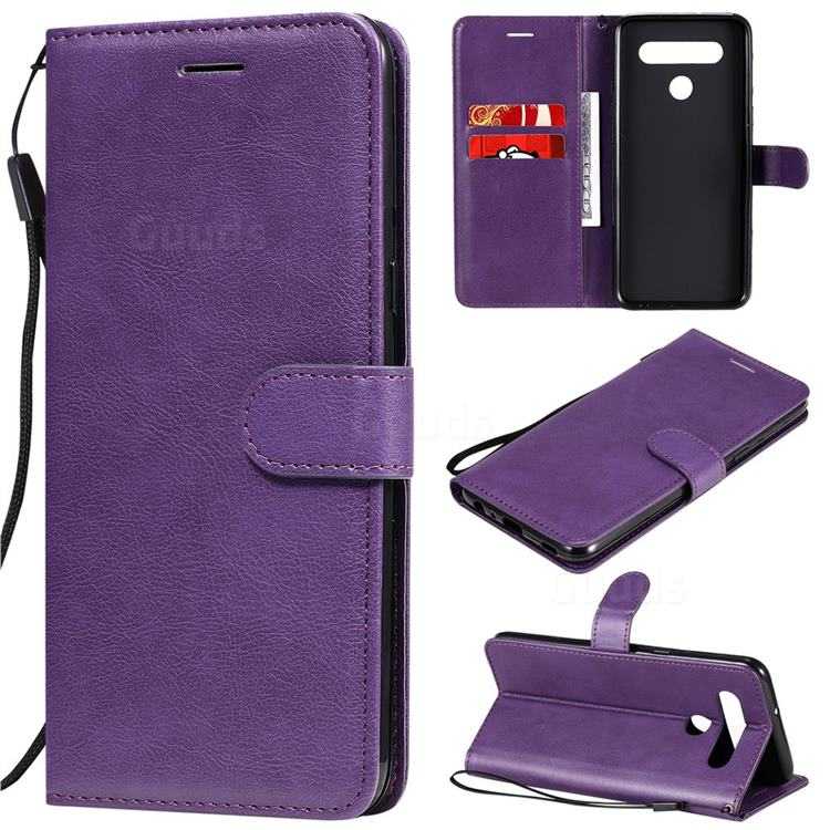 Retro Greek Classic Smooth PU Leather Wallet Phone Case for LG K51S - Purple