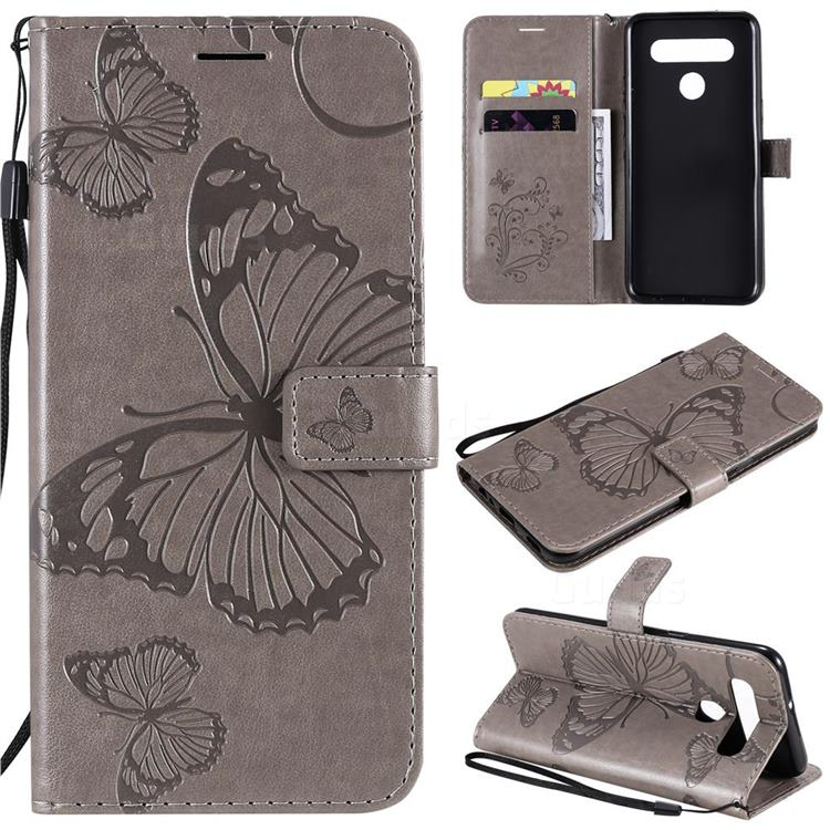 Embossing 3D Butterfly Leather Wallet Case for LG K51S - Gray