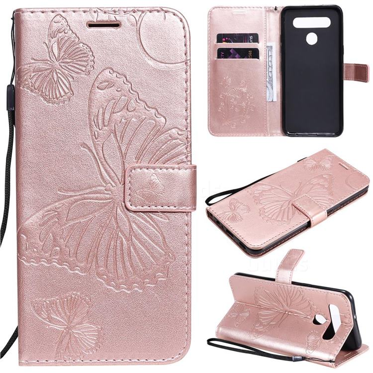 Embossing 3D Butterfly Leather Wallet Case for LG K51S - Rose Gold