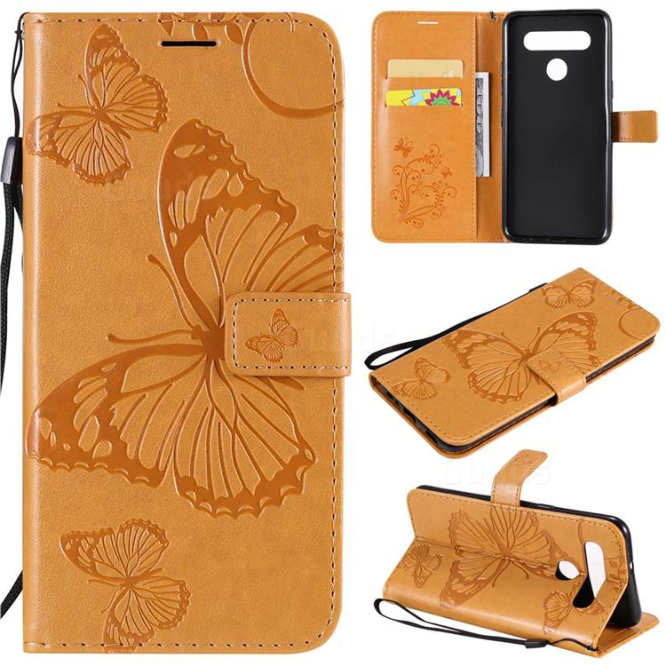 Embossing 3D Butterfly Leather Wallet Case for LG K51S - Yellow