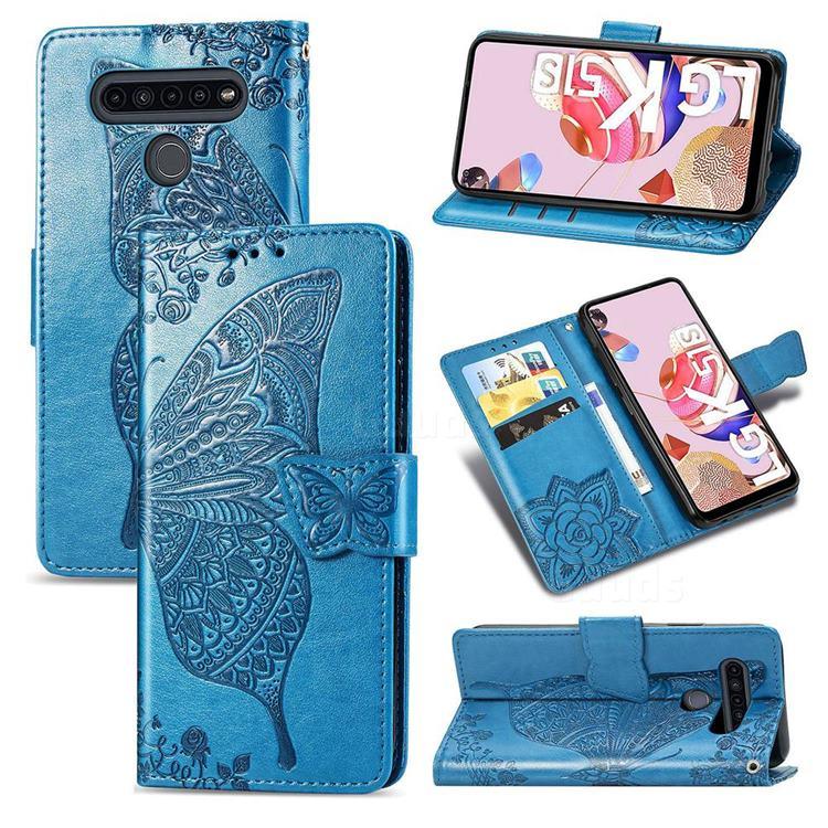 Embossing Mandala Flower Butterfly Leather Wallet Case for LG K51S - Blue