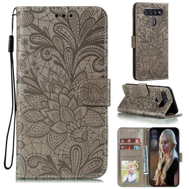 Intricate Embossing Lace Jasmine Flower Leather Wallet Case for LG K51S - Gray
