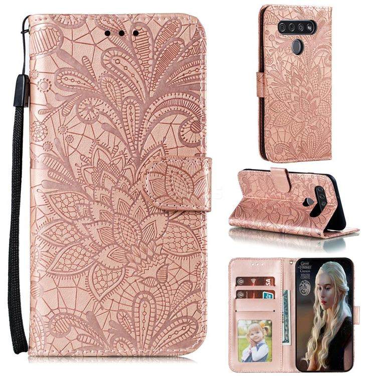 Intricate Embossing Lace Jasmine Flower Leather Wallet Case for LG K51S - Rose Gold