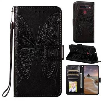Intricate Embossing Vivid Butterfly Leather Wallet Case for LG K51S - Black