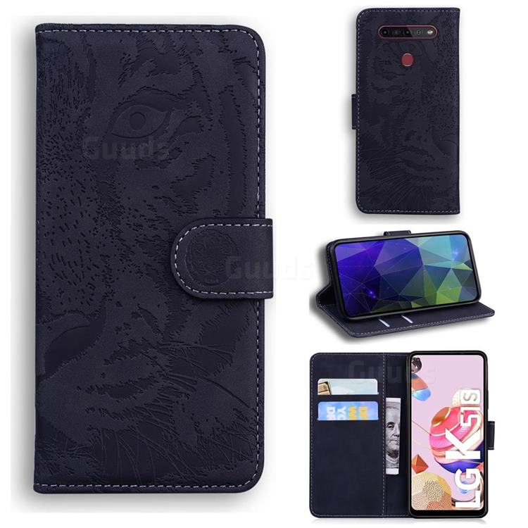 Intricate Embossing Tiger Face Leather Wallet Case for LG K51S - Black