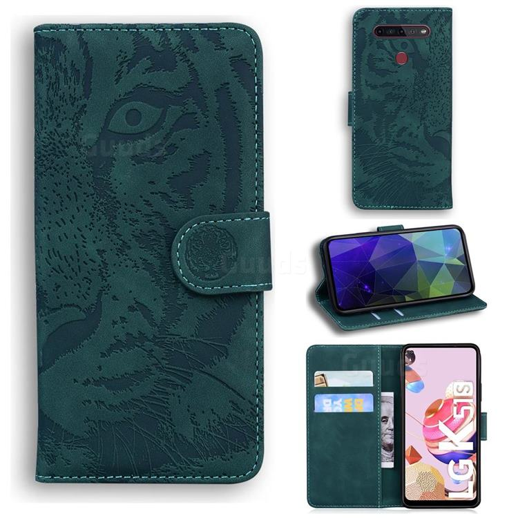 Intricate Embossing Tiger Face Leather Wallet Case for LG K51S - Green