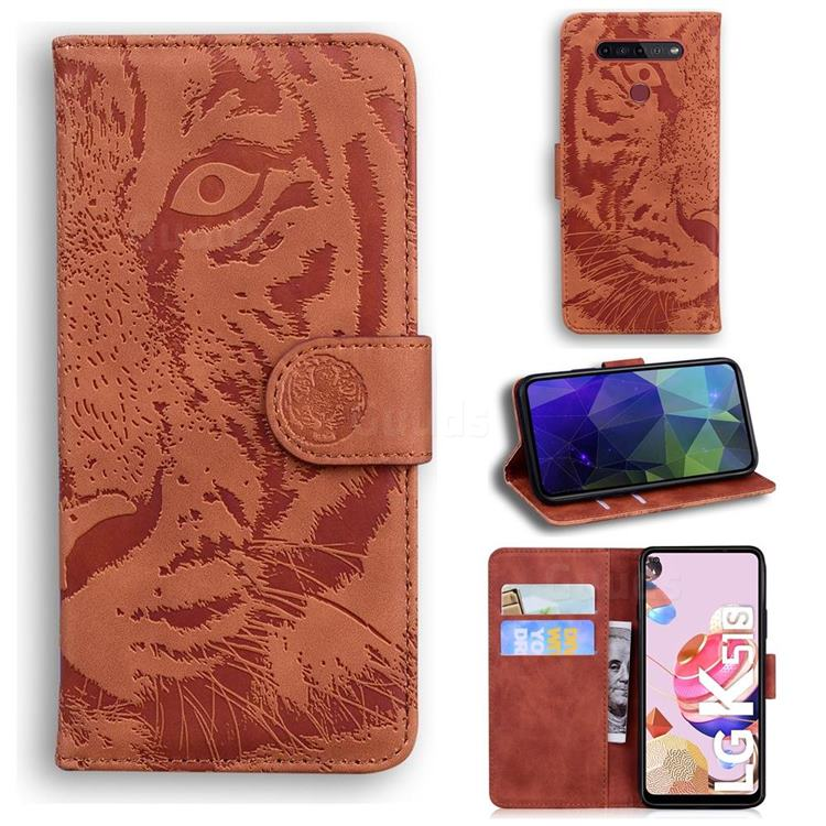 Intricate Embossing Tiger Face Leather Wallet Case for LG K51S - Brown