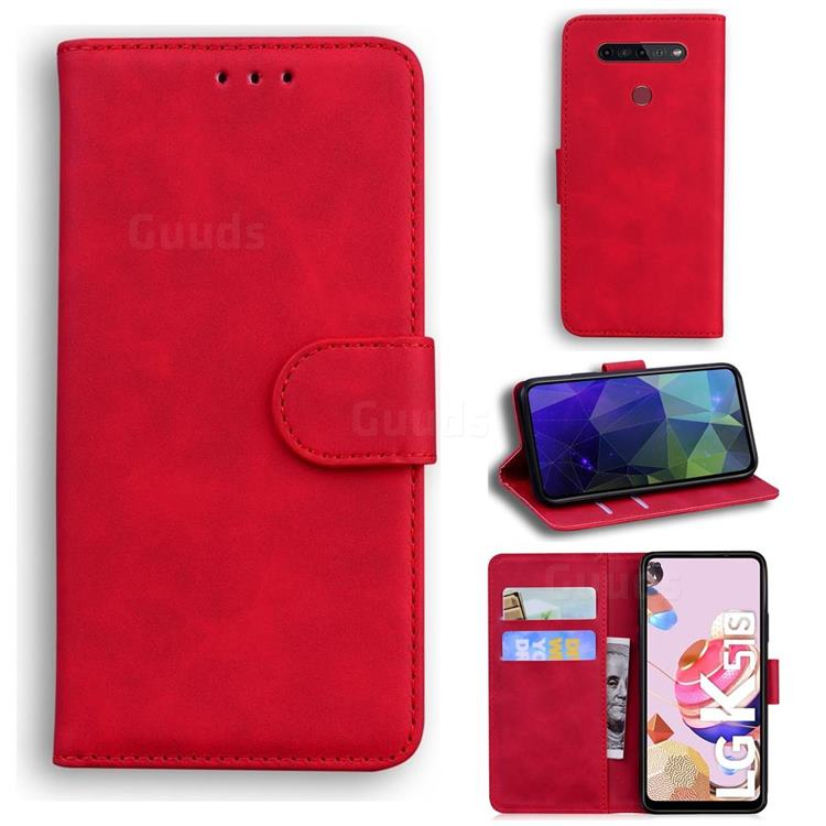 Retro Classic Skin Feel Leather Wallet Phone Case for LG K51S - Red