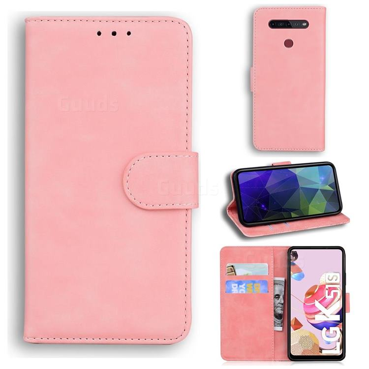 Retro Classic Skin Feel Leather Wallet Phone Case for LG K51S - Pink