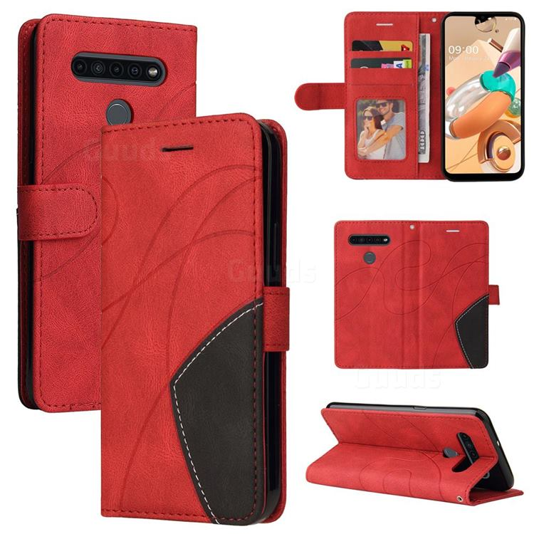 Luxury Two-color Stitching Leather Wallet Case Cover for LG K51S - Red