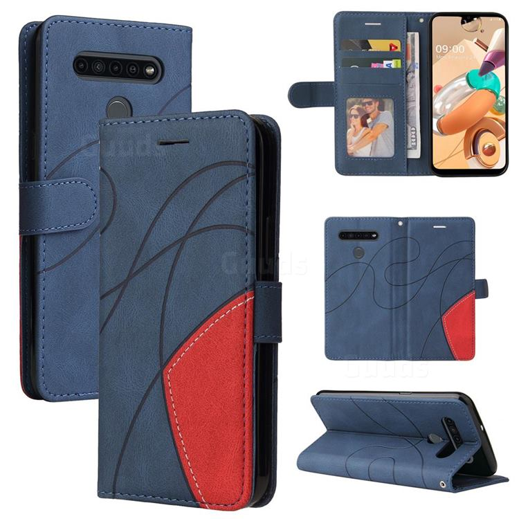 Luxury Two-color Stitching Leather Wallet Case Cover for LG K51S - Blue