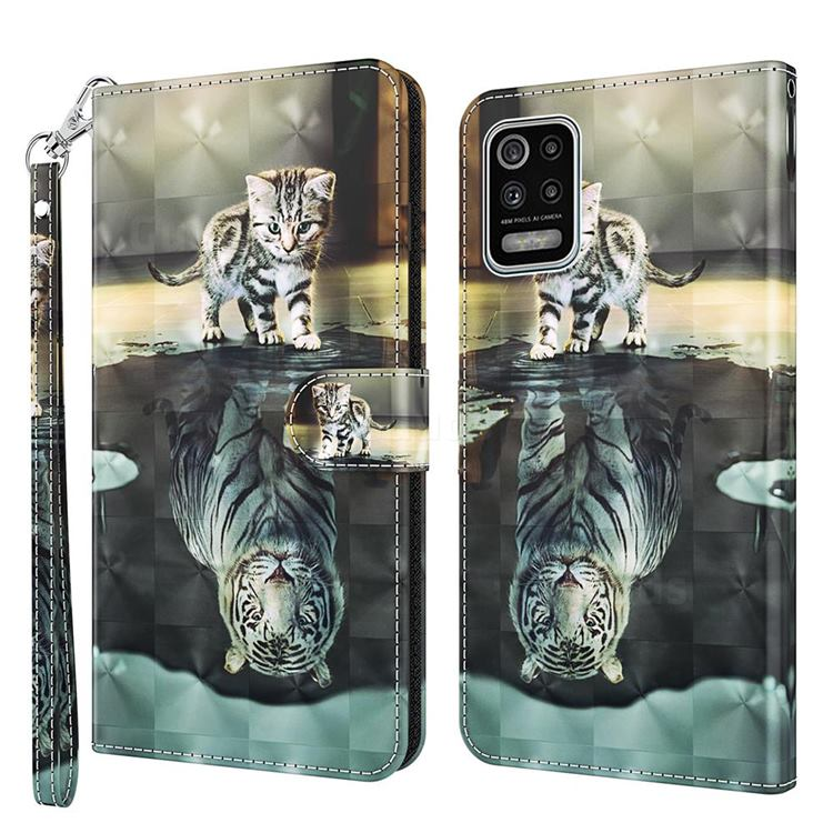 Tiger and Cat 3D Painted Leather Wallet Case for LG K52 K62 Q52