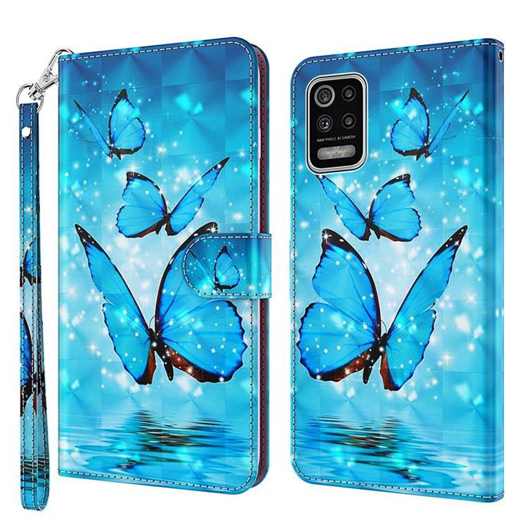 Blue Sea Butterflies 3D Painted Leather Wallet Case for LG K52 K62 Q52