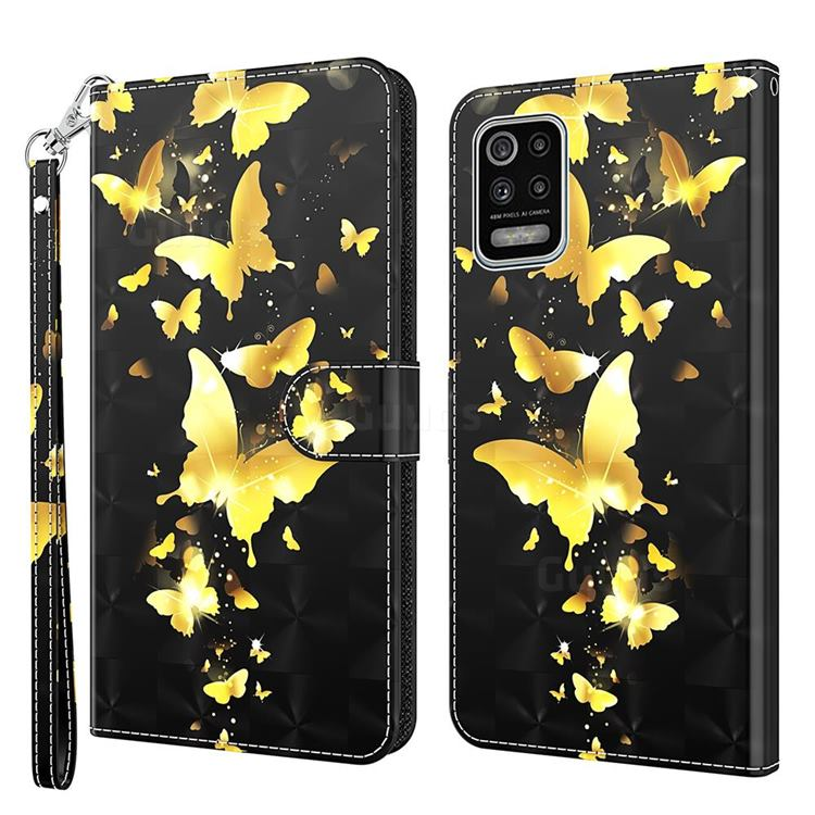 Golden Butterfly 3D Painted Leather Wallet Case for LG K52 K62 Q52