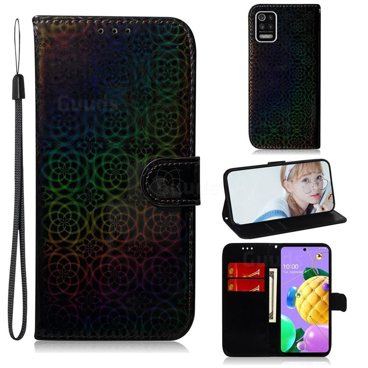 Laser Circle Shining Leather Wallet Phone Case for LG K52 K62 Q52 - Black