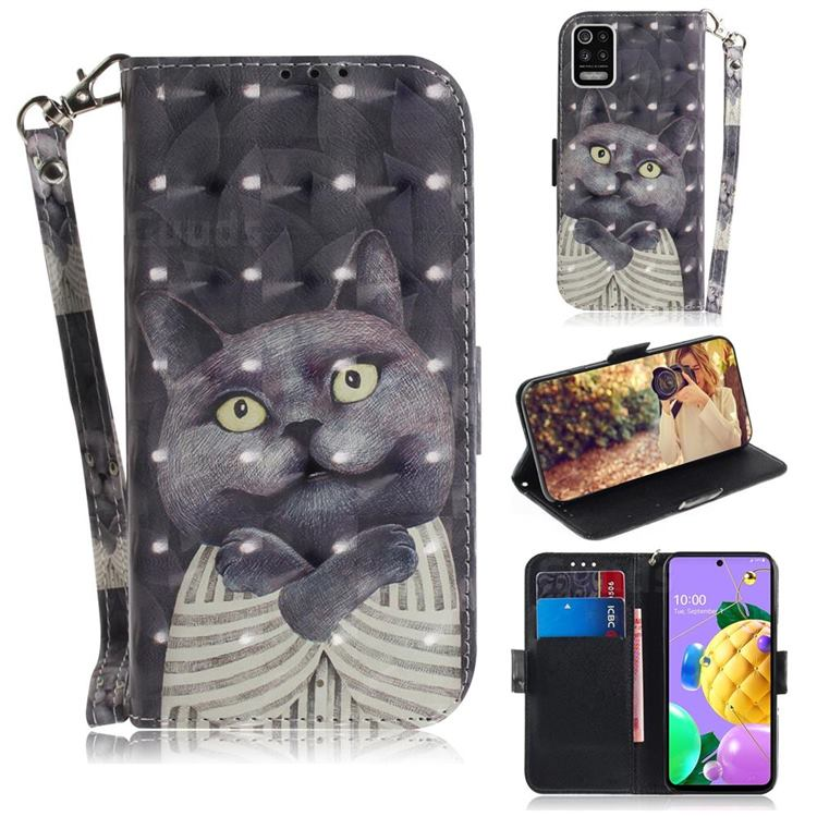 Cat Embrace 3D Painted Leather Wallet Phone Case for LG K52 K62 Q52