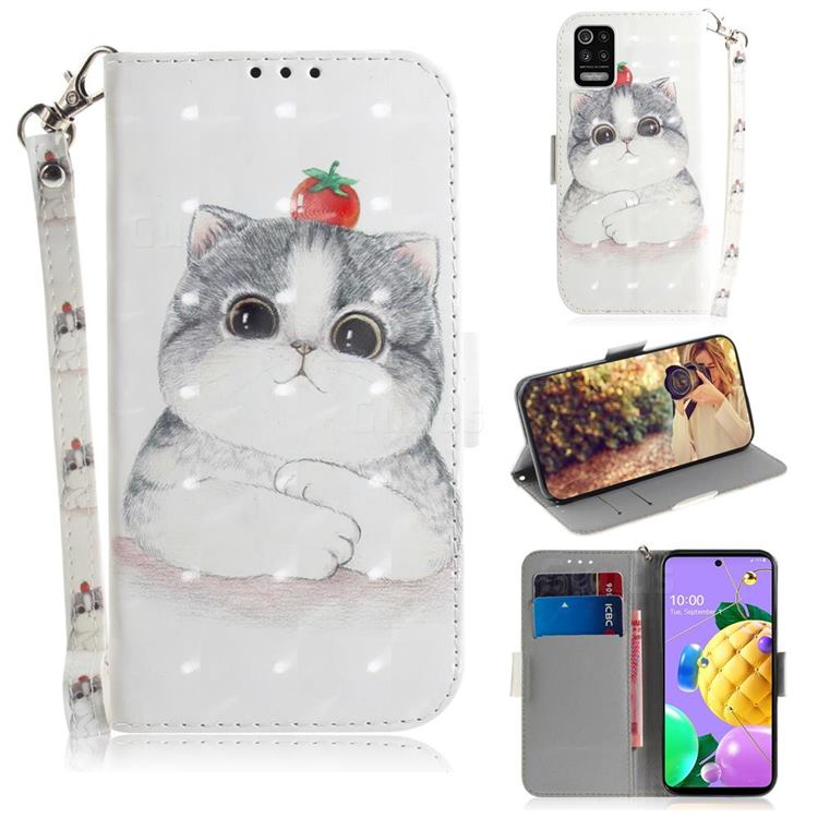 Cute Tomato Cat 3D Painted Leather Wallet Phone Case for LG K52 K62 Q52