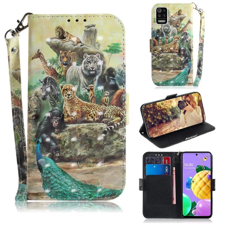 Beast Zoo 3D Painted Leather Wallet Phone Case for LG K52 K62 Q52