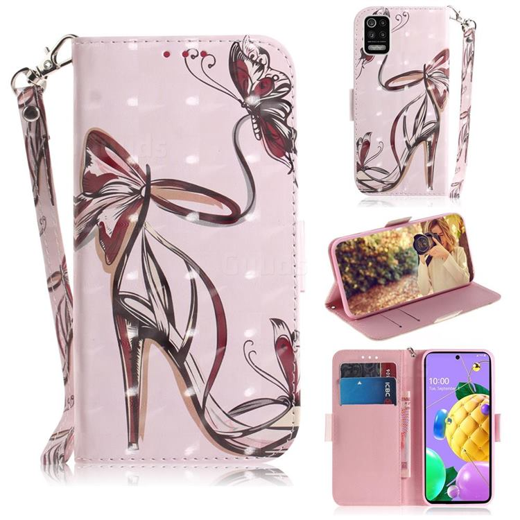 Butterfly High Heels 3D Painted Leather Wallet Phone Case for LG K52 K62 Q52