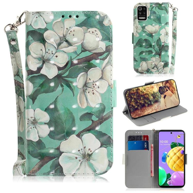 Watercolor Flower 3D Painted Leather Wallet Phone Case for LG K52 K62 Q52