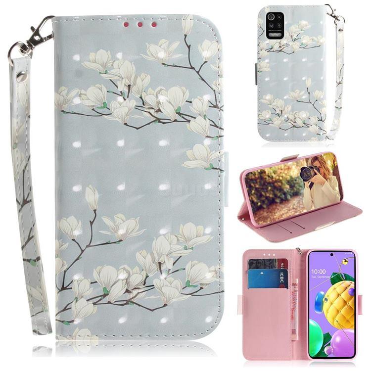 Magnolia Flower 3D Painted Leather Wallet Phone Case for LG K52 K62 Q52